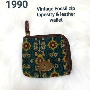 💗 Vintage Fossil zip tapestry & leather co wallet